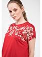 DeFacto Çiçek Baskılı T-shirt Kırmızı